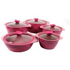 Huochu Aluminium Cookware Set, Pink, 10 Pcs