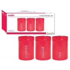 Anika 3-Piece Storage Jars, Red...