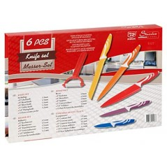 6 Piece Non-stick Coating Multi Color Knife Set Wi